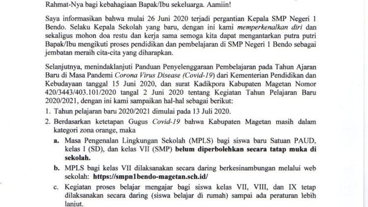 SELEMBARAN & INFORMASI KEPSEK TAPEL 2020/2021